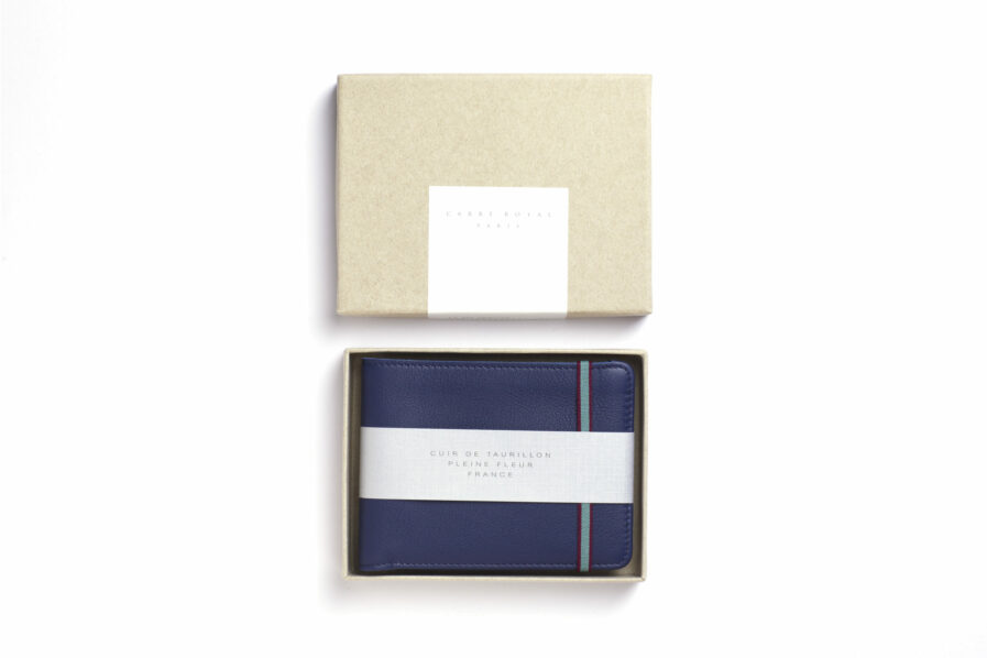 Navy Minimalist Wallet by Carré Royal in the Box (LA902 Marine)