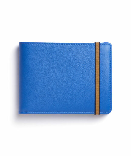 Light Blue Minimalist Leather Wallet With Coin Pocket by Carré Royal Front (LA901 Bleu Ciel)