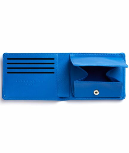 Light Blue Minimalist Leather Wallet With Coin Pocket by Carré Royal Open (LA901 Bleu Ciel)