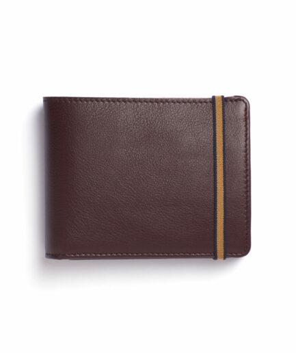 Burgundy Minimalist Leather Wallet With Coin Pocket by Carré Royal Front (LA901 Bordeaux)
