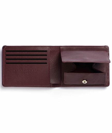 Burgundy Minimalist Leather Wallet With Coin Pocket by Carré Royal Open (LA901 Bordeaux)