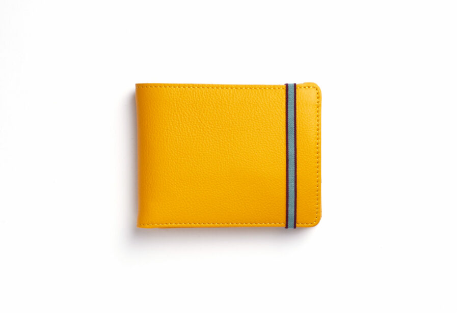 Yellow Minimalist Leather Wallet With Coin Pocket by Carré Royal Front (LA901 Jaune)
