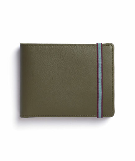 Kaki Minimalist Leather Wallet With Coin Pocket by Carré Royal Front (LA901 Kaki)