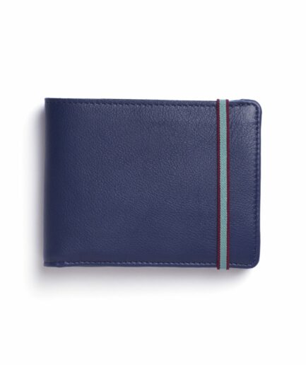 Navy Minimalist Leather Wallet With Coin Pocket by Carré Royal Front (LA901 Marine)