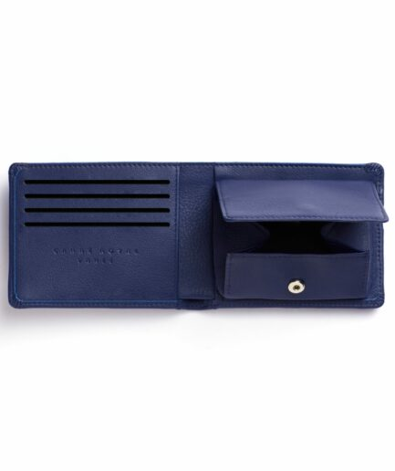 Navy Minimalist Leather Wallet With Coin Pocket by Carré Royal Open (LA901 Marine)