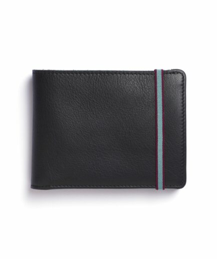 Black Minimalist Leather Wallet With Coin Pocket by Carré Royal Front (LA901 Noir)