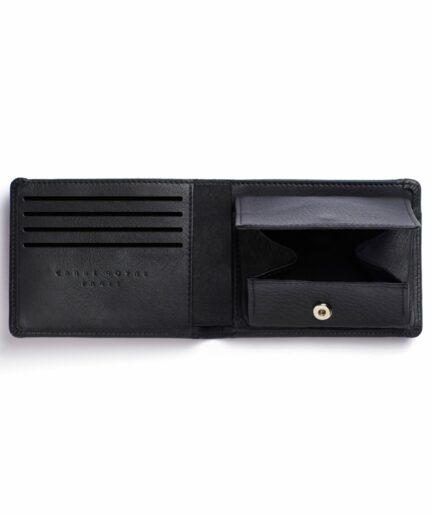 Black Minimalist Leather Wallet With Coin Pocket by Carré Royal Open (LA901 Noir)