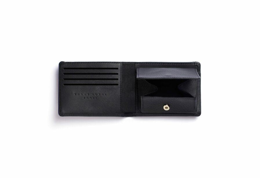 Black Minimalist Leather Wallet With Coin Pocket by Carré Royal Open (LA901 Noir)