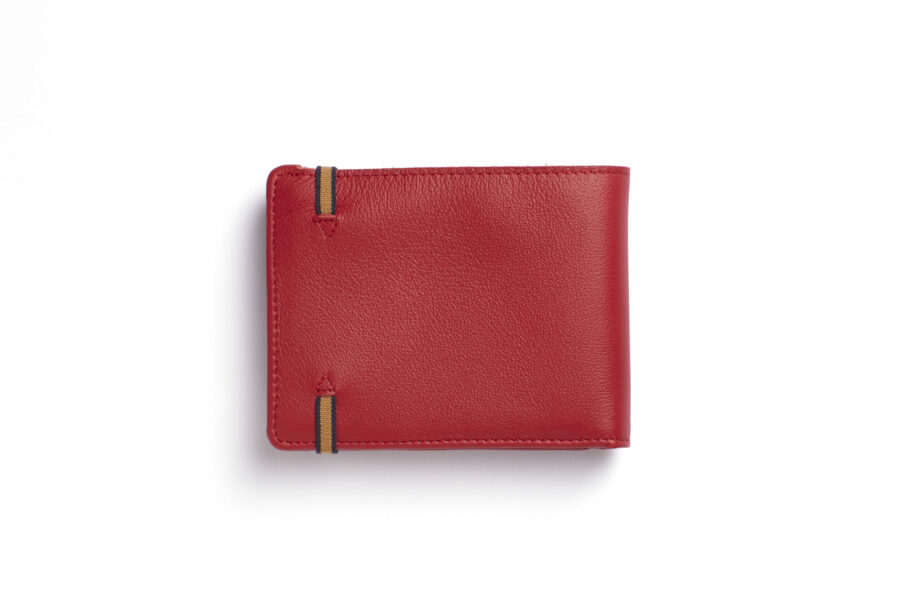 Red Minimalist Leather Wallet With Coin Pocket by Carré Royal Back (LA901 Rouge)