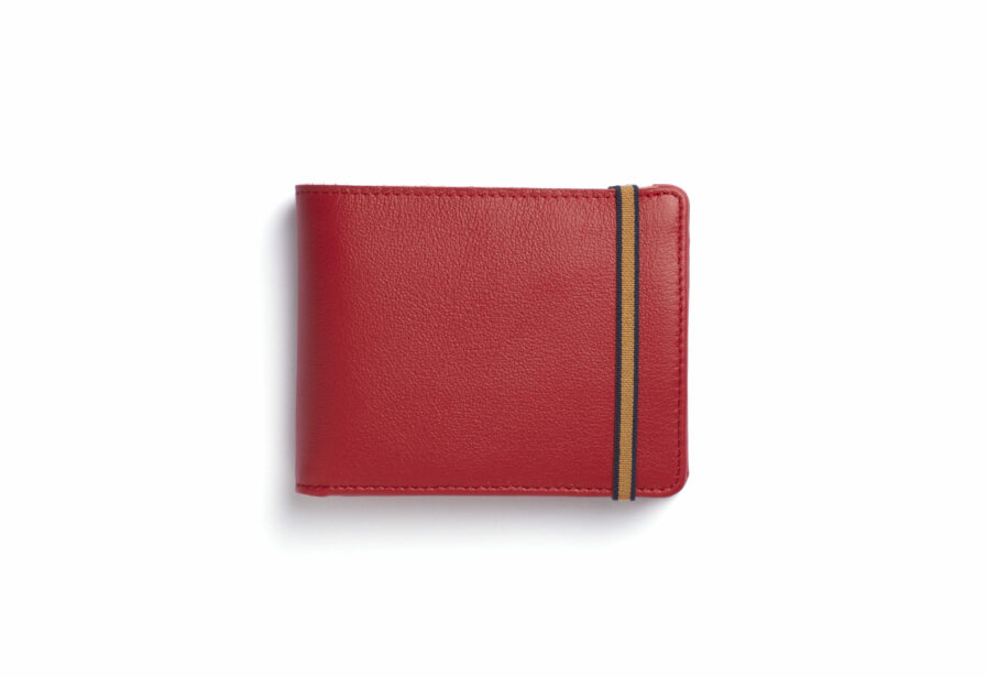 Red Minimalist Leather Wallet With Coin Pocket by Carré Royal Front (LA901 Rouge)