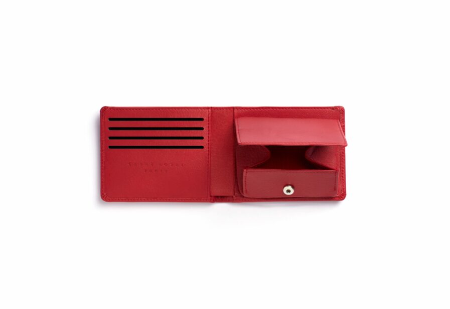 Red Minimalist Leather Wallet With Coin Pocket by Carré Royal Open (LA901 Rouge)