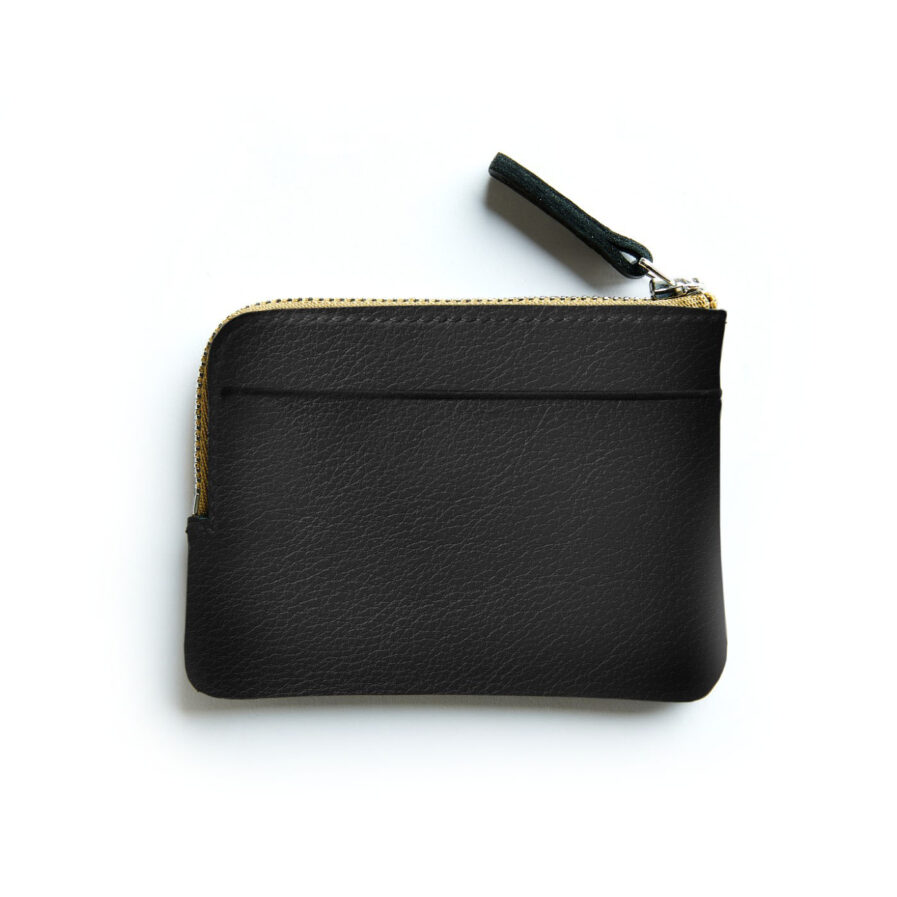 Black Minimalist Purse in Calfskin Leather by Carré Royal Back (AT302 Black)