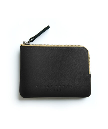 Black Minimalist Purse in Calfskin Leather by Carré Royal Front (AT302 Black)
