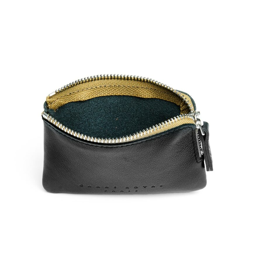Black Minimalist Purse in Calfskin Leather by Carré Royal Open (AT302 Black)