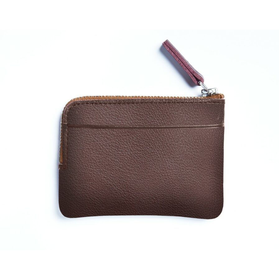 Burgundy Minimalist Purse in Calfskin Leather by Carré Royal Back (AT302 Burgundy)