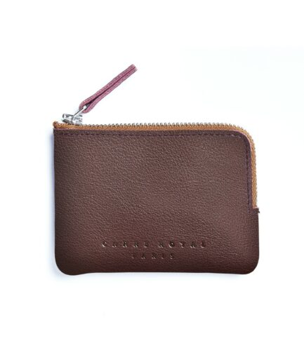 Burgundy Minimalist Purse in Calfskin Leather by Carré Royal Front (AT302 Burgundy)