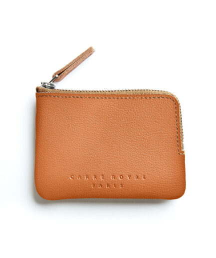 Gold Minimalist Purse in Calfskin Leather by Carré Royal Front (AT302 Gold)