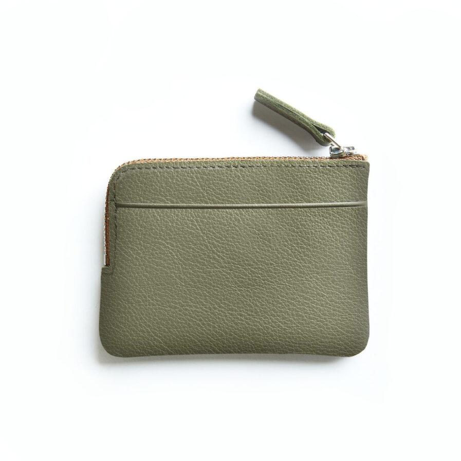 Khaki Minimalist Purse in Calfskin Leather by Carré Royal Back (AT302 Khaki)