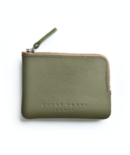 Khaki Minimalist Purse in Calfskin Leather by Carré Royal Front (AT302 Khaki)