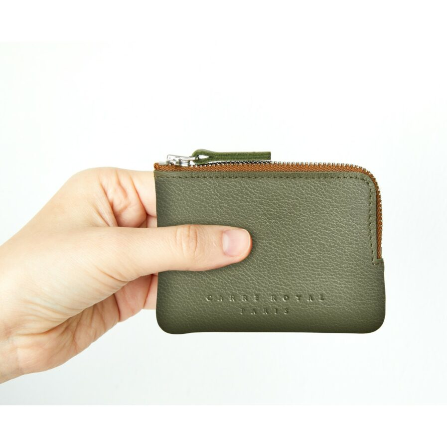 Khaki Minimalist Purse in Calfskin Leather by Carré Royal at Hand (AT302 Khaki)