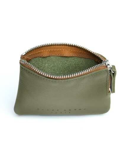 Khaki Minimalist Purse in Calfskin Leather by Carré Royal Open (AT302 Khaki)