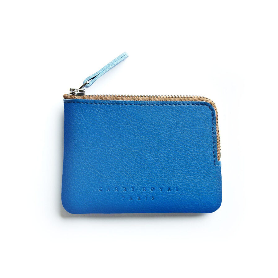 Light Blue Minimalist Purse in Calfskin Leather by Carré Royal Front (AT302 Light Blue)