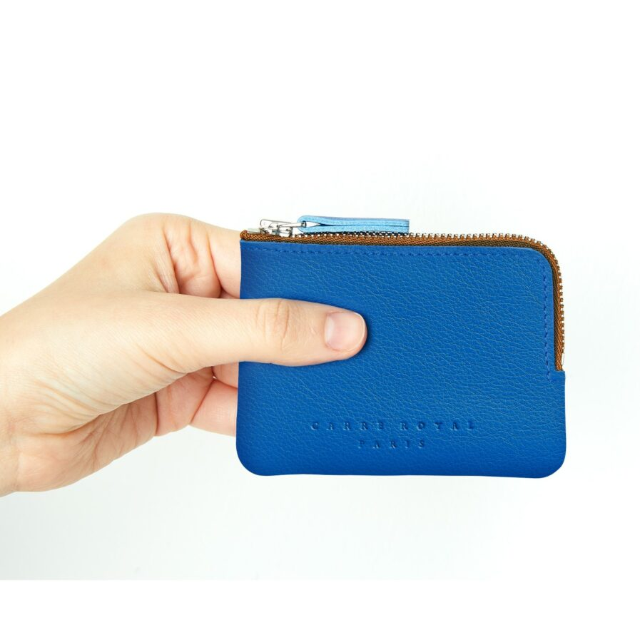 Light Blue Minimalist Purse in Calfskin Leather by Carré Royal at Hand (AT302 Light Blue)