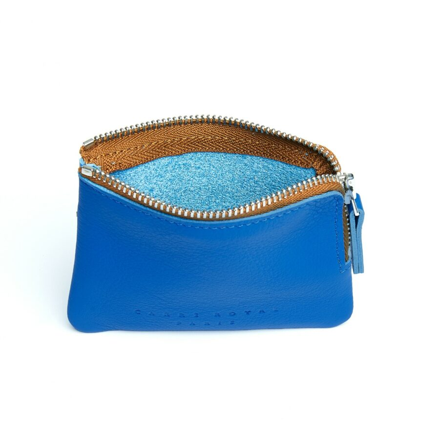 Light Blue Minimalist Purse in Calfskin Leather by Carré Royal Open (AT302 Light Blue)