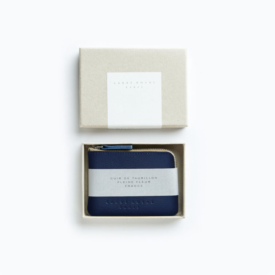 Navy Minimalist Purse in Calfskin Leather by Carré Royal in the Box (AT302 Navy)
