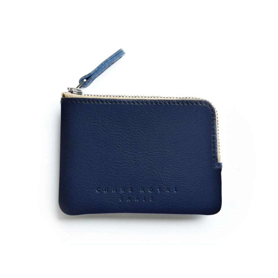 Navy Minimalist Purse in Calfskin Leather by Carré Royal Front (AT302 Navy)