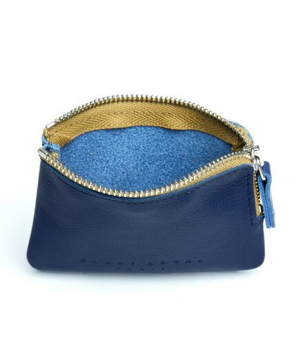 Navy Minimalist Purse in Calfskin Leather by Carré Royal Open (AT302 Navy)