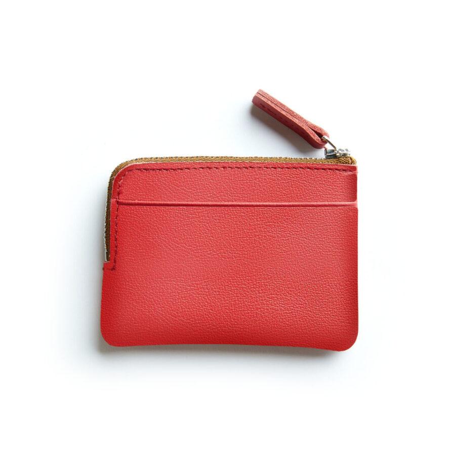 Porte-monnaie rouge en cuir par Carré Royal vue de dos (AT302 Rouge)