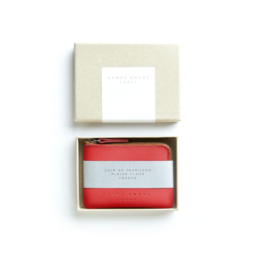 Porte-monnaie rouge en cuir par Carré Royal dans sa boîte (AT302 Rouge)