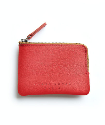 Red Minimalist Purse in Calfskin Leather by Carré Royal Front (AT302 Red)