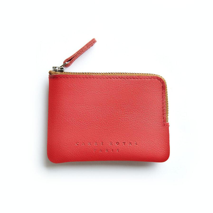 Porte-monnaie rouge en cuir par Carré Royal vue de face (AT302 Rouge)