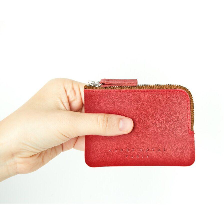 Porte-monnaie rouge en cuir par Carré Royal en main (AT302 Rouge)