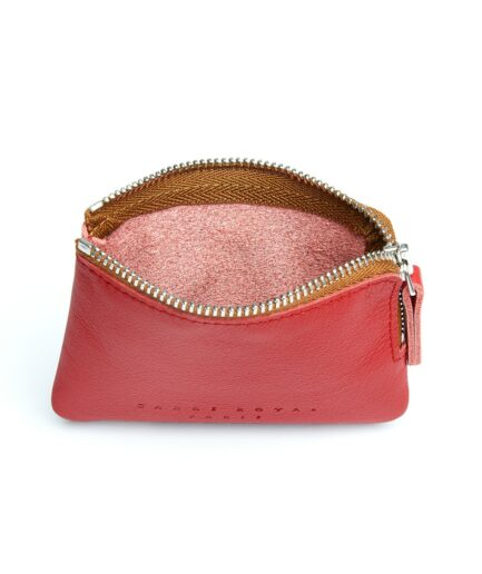 Red Minimalist Purse in Calfskin Leather by Carré Royal Open (AT302 Red)