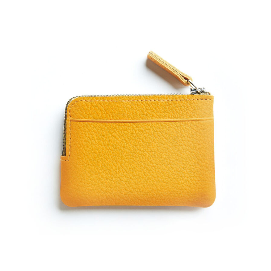 Yellow Minimalist Purse in Calfskin Leather by Carré Royal Back (AT302 Yellow)