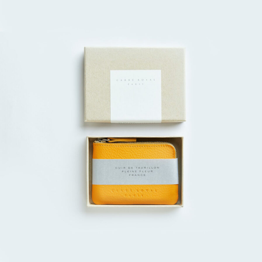 Yellow Minimalist Purse in Calfskin Leather by Carré Royal in the Box (AT302 Yellow)