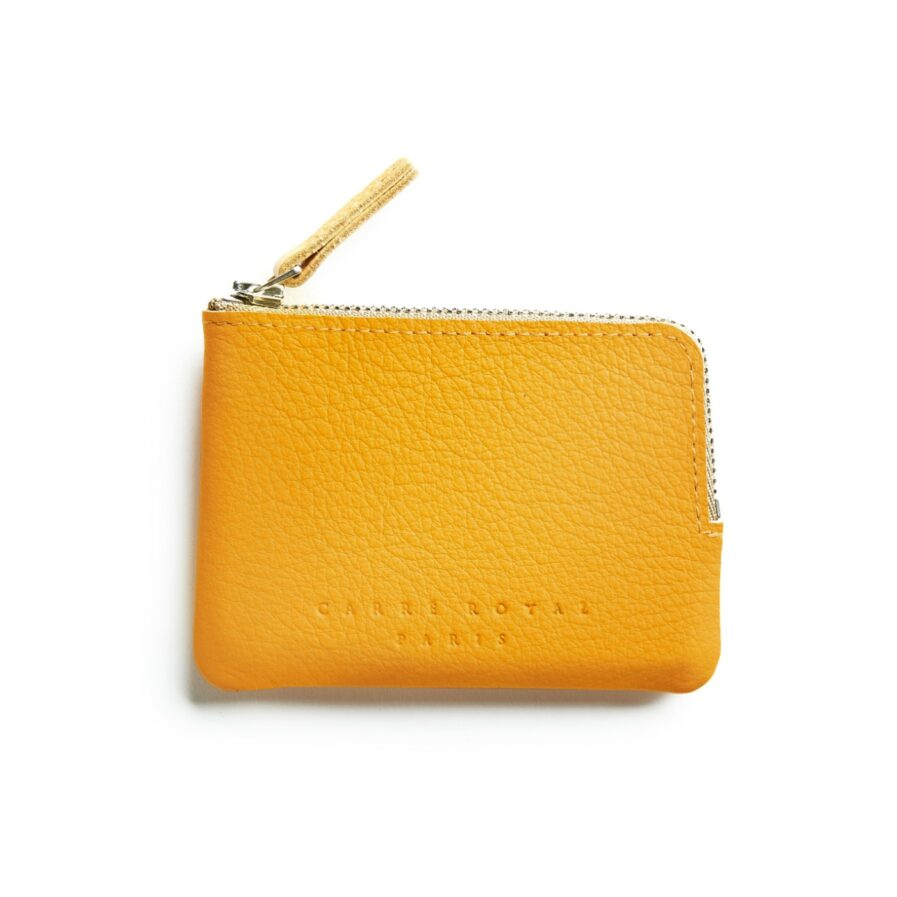 Yellow Minimalist Purse in Calfskin Leather by Carré Royal Front (AT302 Yellow)