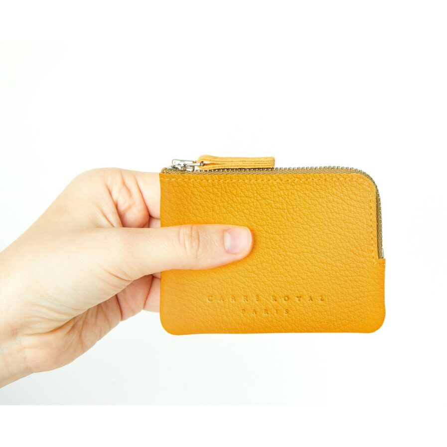 Yellow Minimalist Purse in Calfskin Leather by Carré Royal at Hand (AT302 Yellow)