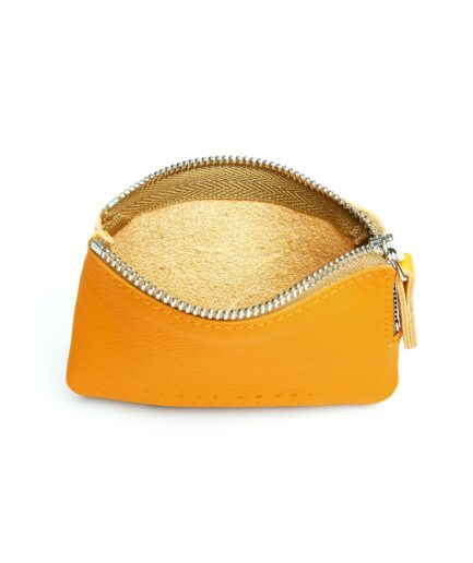 Yellow Minimalist Purse in Calfskin Leather by Carré Royal Open (AT302 Yellow)
