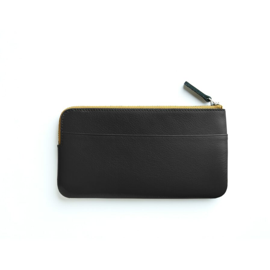 Black Pouch in Calfskin Leather by Carré Royal Back (AT305 Black)