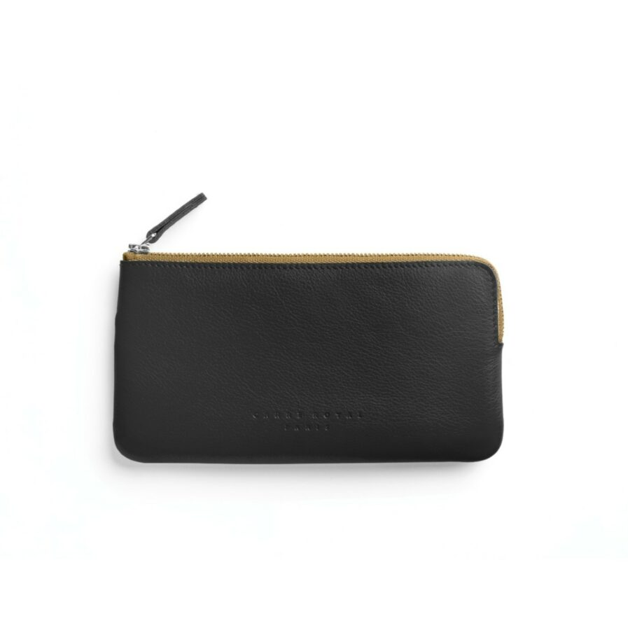 Black Pouch in Calfskin Leather by Carré Royal Front (AT305 Black)