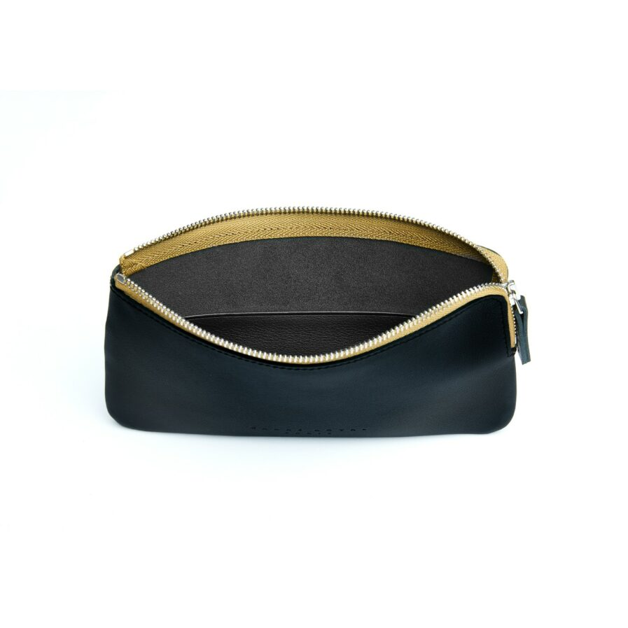 Black Pouch in Calfskin Leather by Carré Royal Open (AT305 Black)