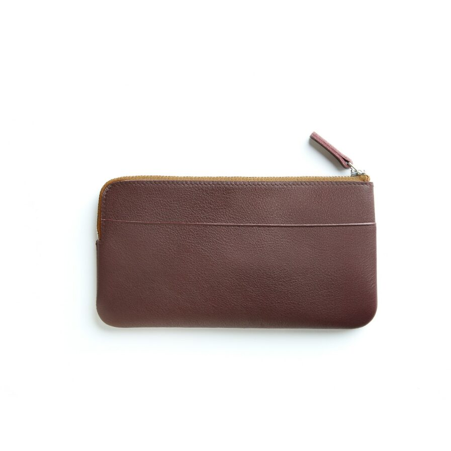Burgundy Pouch in Calfskin Leather by Carré Royal Back (AT305 Burgundy)