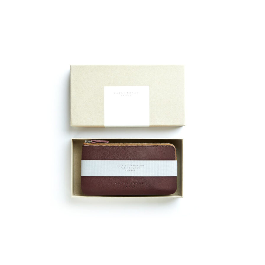 Burgundy Pouch in Calfskin Leather by Carré Royal in the Box (AT305 Burgundy)