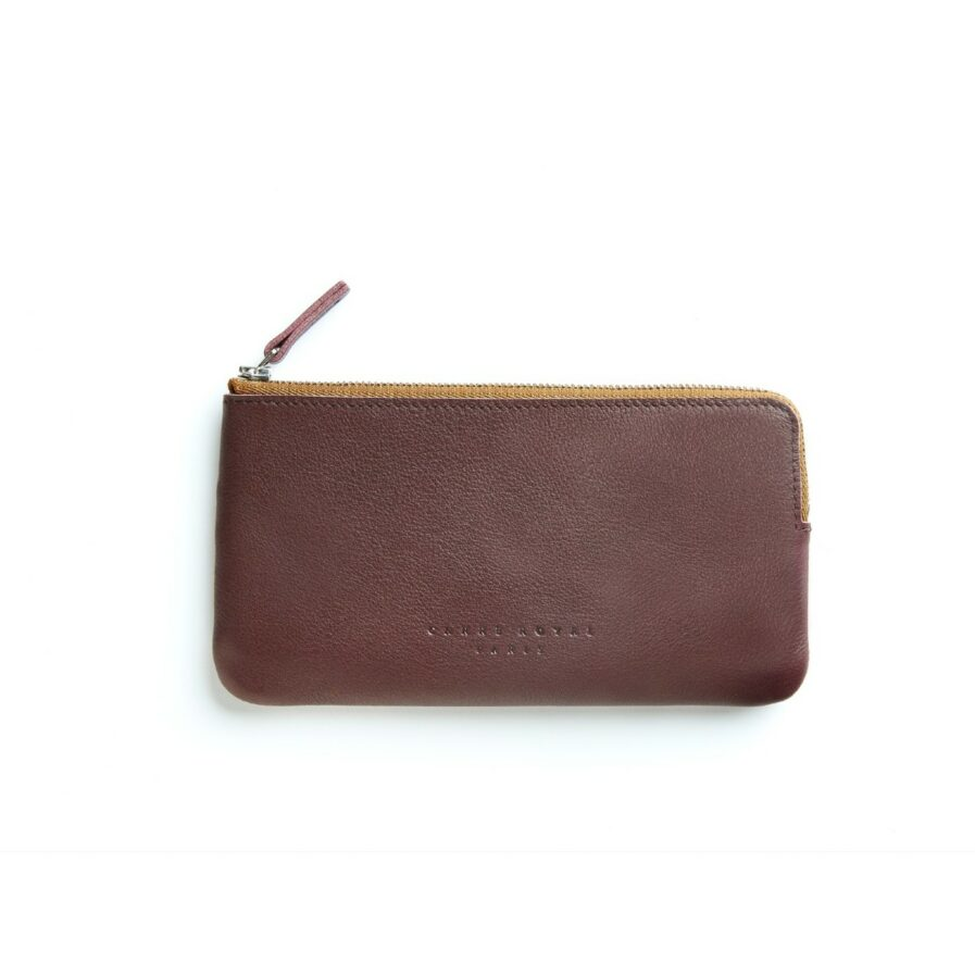Burgundy Pouch in Calfskin Leather by Carré Royal Front (AT305 Burgundy)