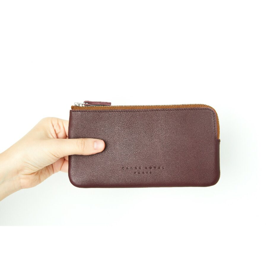 Burgundy Pouch in Calfskin Leather by Carré Royal at Hand (AT305 Burgundy)
