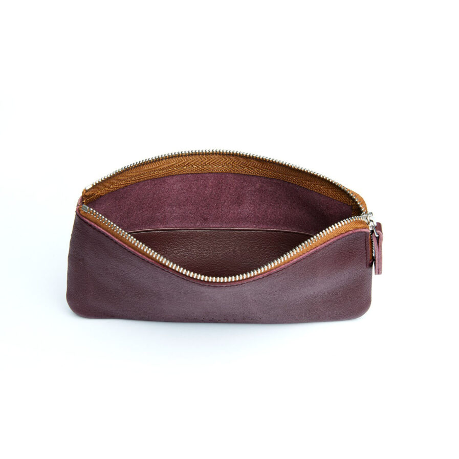 Burgundy Pouch in Calfskin Leather by Carré Royal Open (AT305 Burgundy)